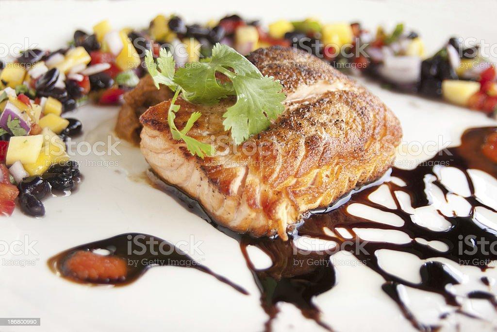 Grilled salmon entree royalty-free stock photo