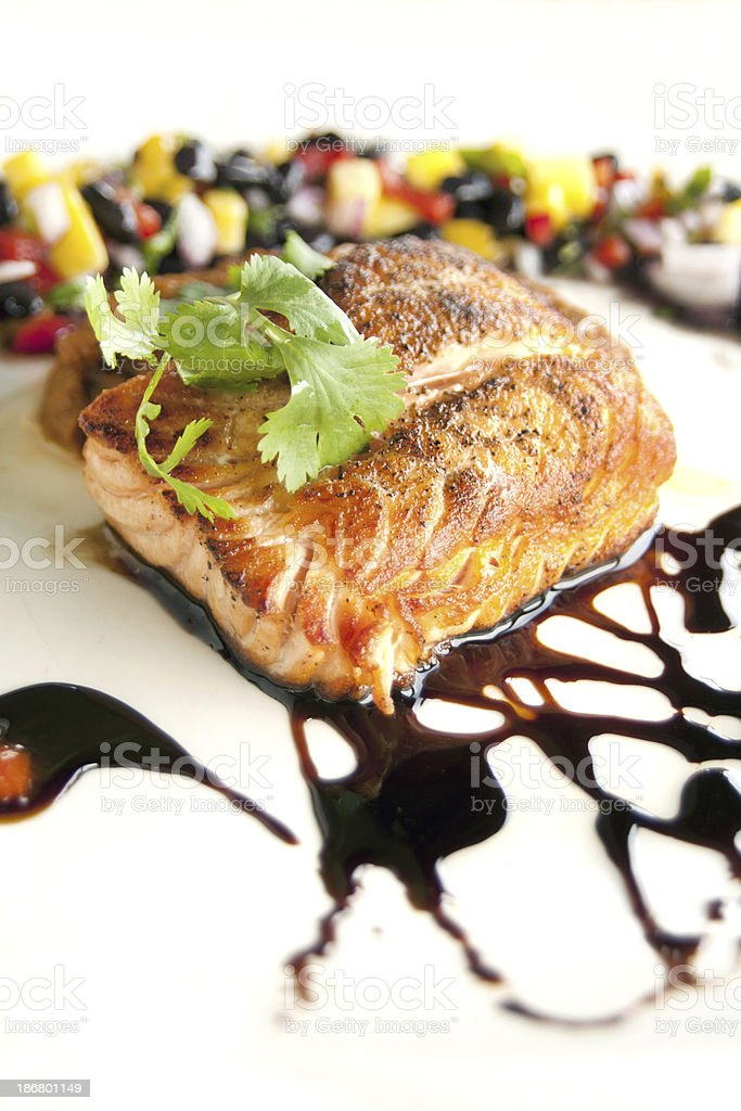 Grilled salmon entree royalty-free stock photo