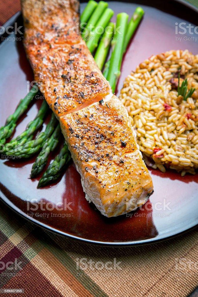Grilled Salmon Filet Dinner stock photo
