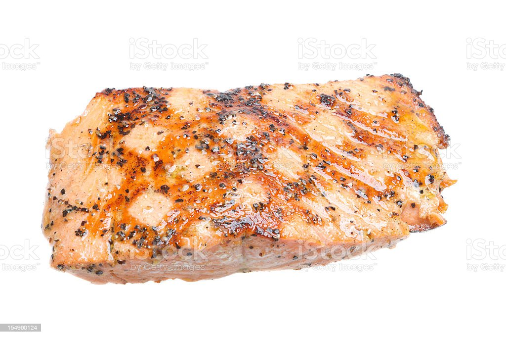 Grilled Salmon Filet, Isolated on White stock photo