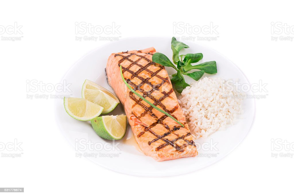 Grilled salmon filler with risotto. stock photo