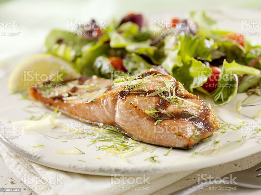 BBQ Grilled Salmon Fillet stock photo