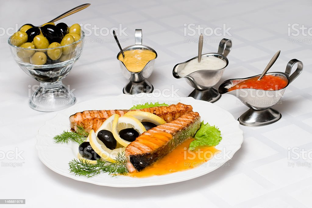 Grilled salmon fish royalty-free stock photo