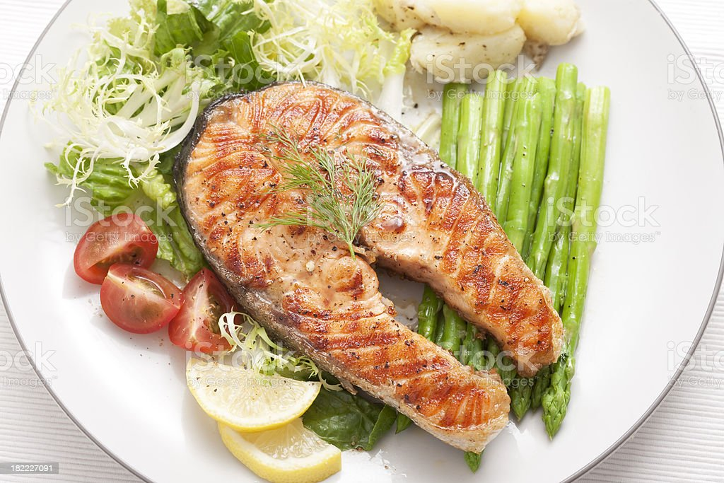 Grilled Salmon for Dinner stock photo