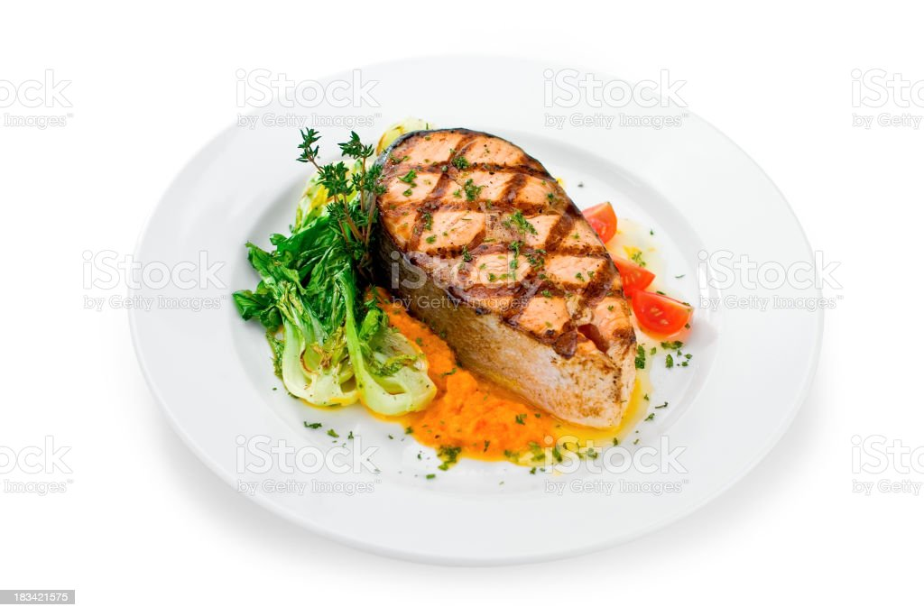 Grilled Salmon Isolated on White stock photo