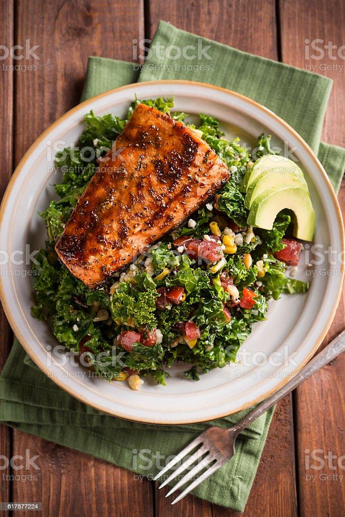 Grilled Salmon Kale Salad stock photo