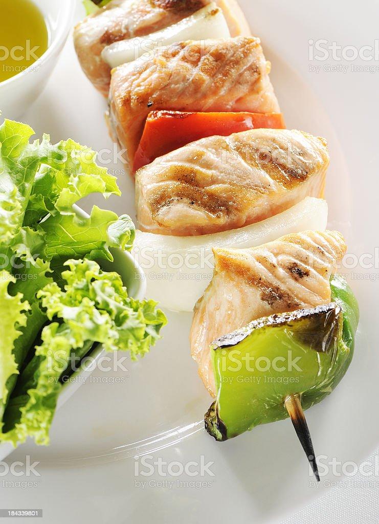 Grilled salmon kebab royalty-free stock photo