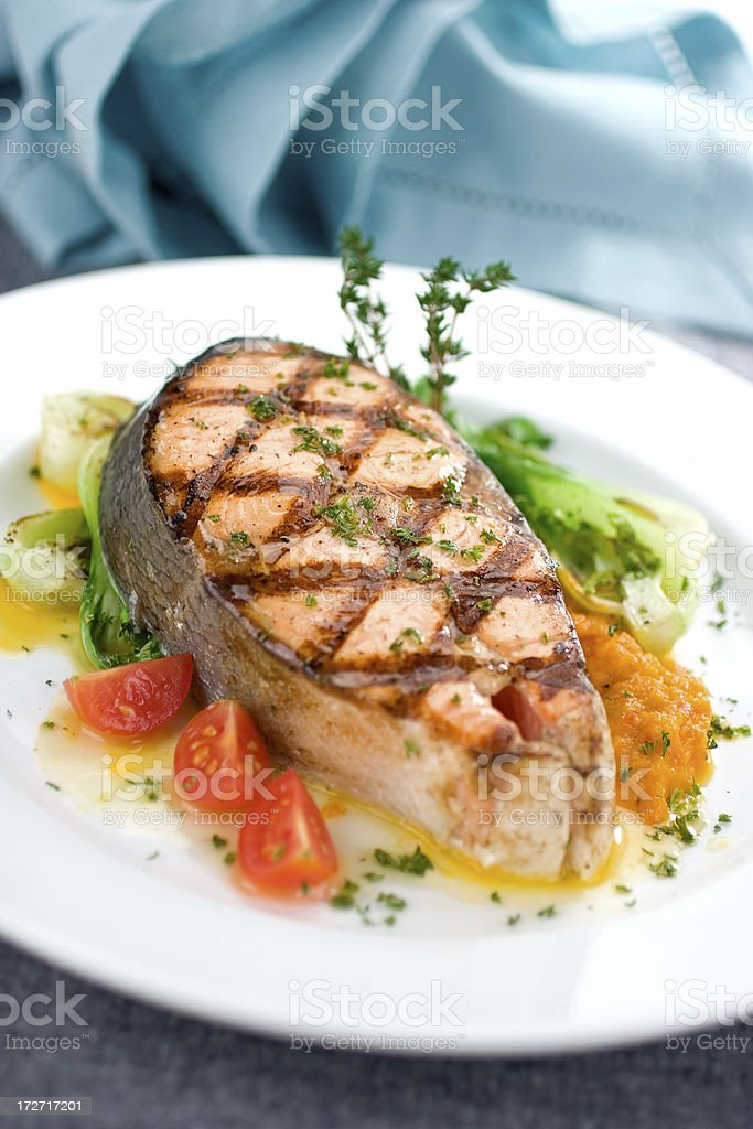 Grilled Salmon Meal royalty-free stock photo
