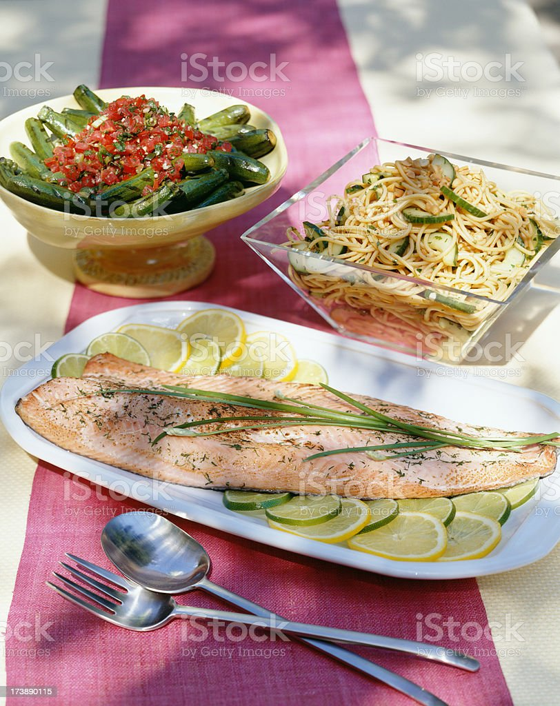 Grilled salmon picnic. royalty-free stock photo