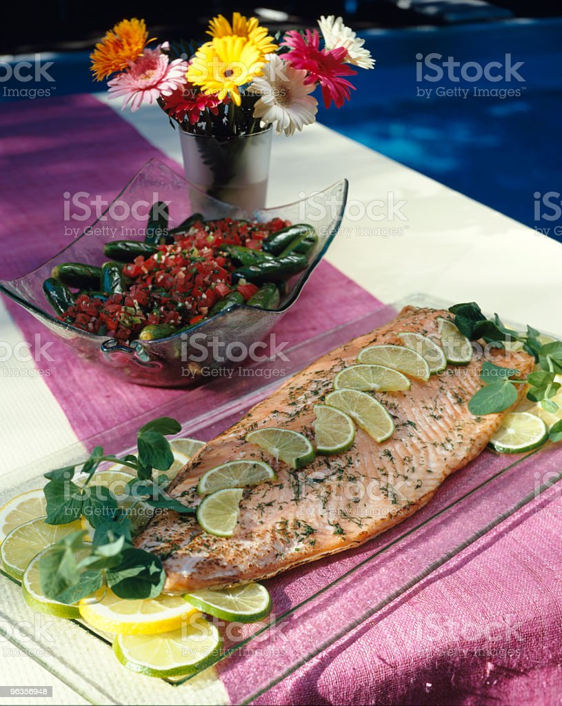 Grilled Salmon Picnic royalty-free stock photo
