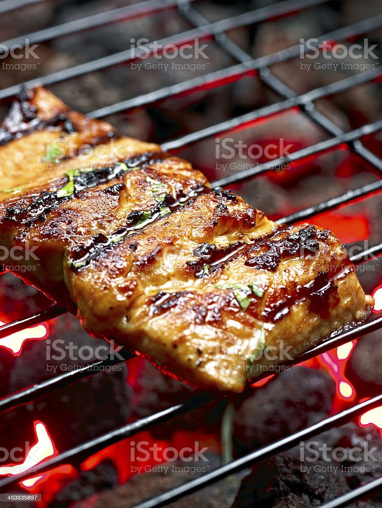 Grilled Salmon. stock photo