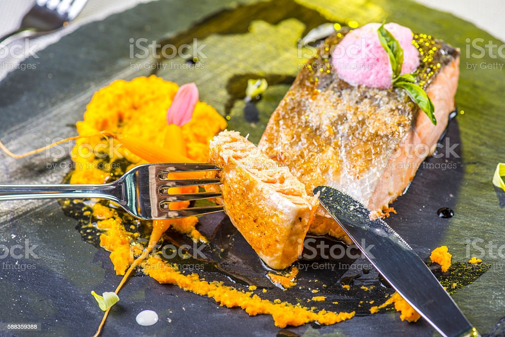 Grilled Salmon stock photo