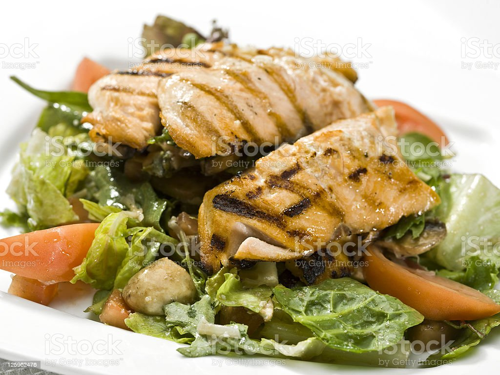 Grilled Salmon Salad royalty-free stock photo