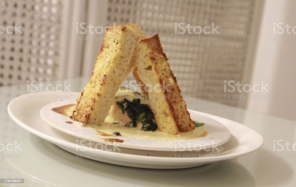 grilled Salmon steak cream sauce with slide bread royalty-free stock photo