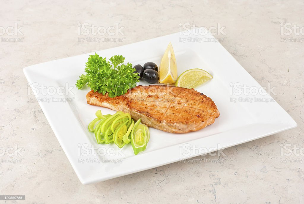 Grilled salmon steak stock photo