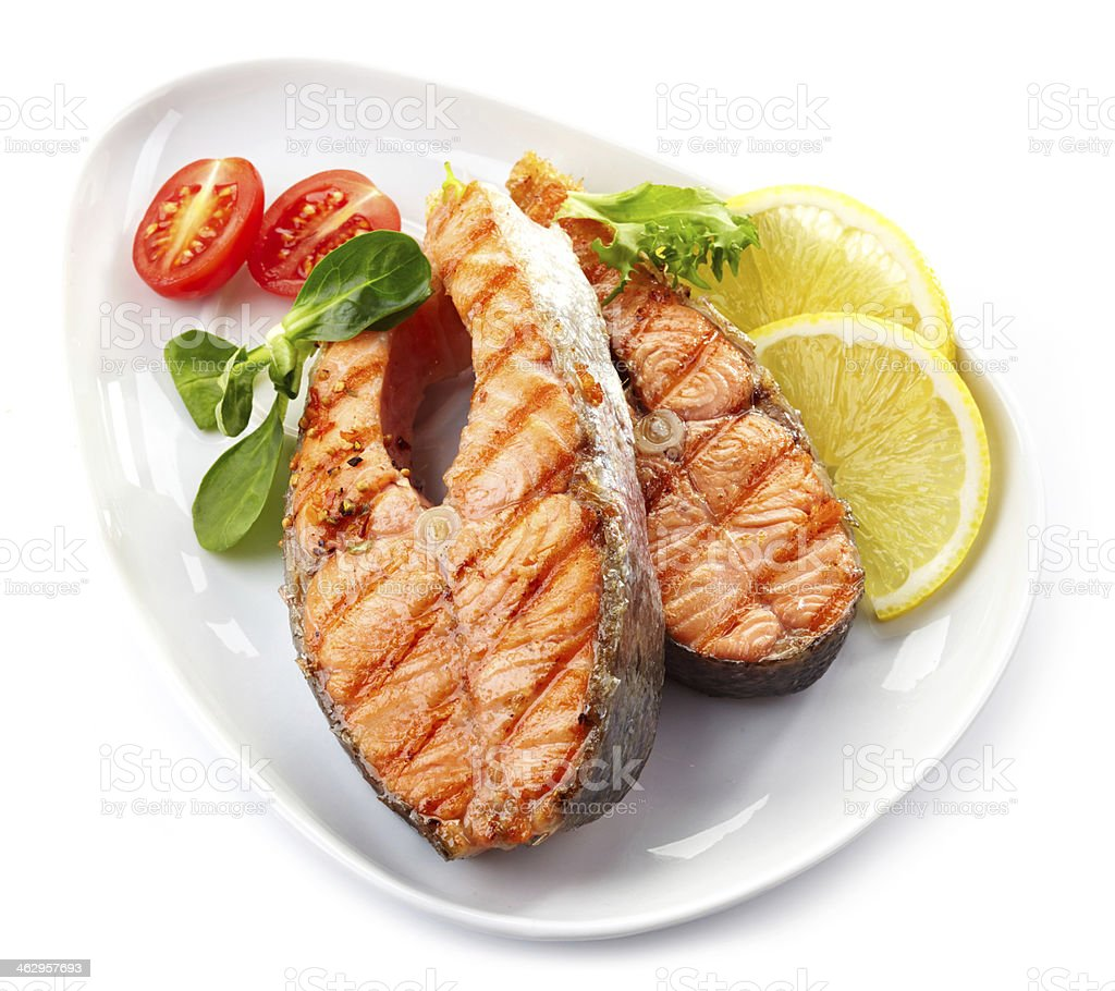 grilled salmon steak slices stock photo