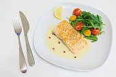 Grilled salmon steak with beurre blanc sauce