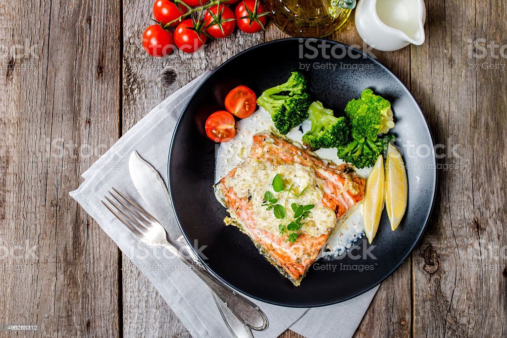 Grilled Salmon Steak with Cream sauce stock photo