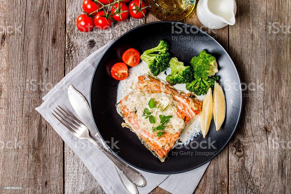 Grilled Salmon Steak with Cream sauce stock photo