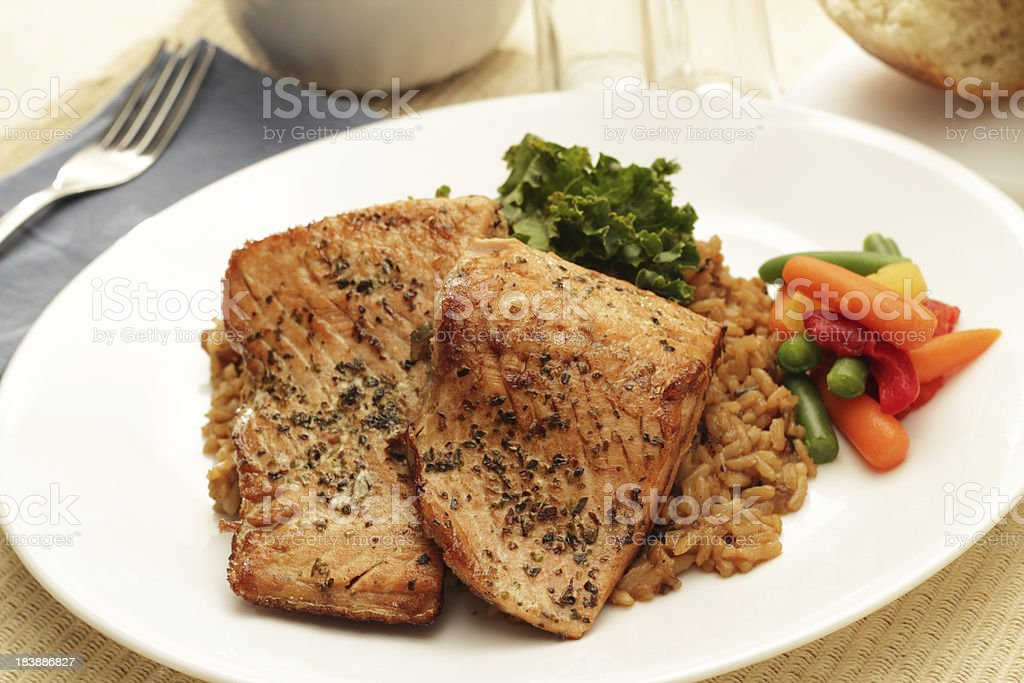 Grilled Salmon Steaks royalty-free stock photo