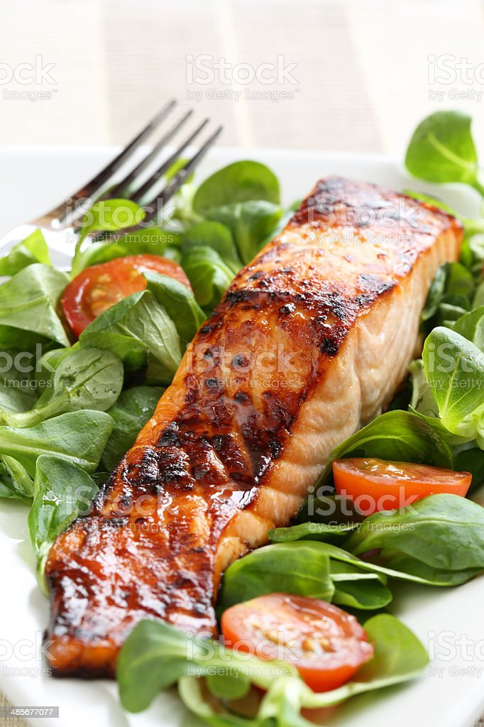 Grilled salmon with a honey glaze stock photo