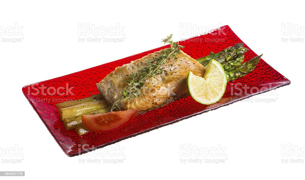 grilled salmon with asparagus royalty-free stock photo