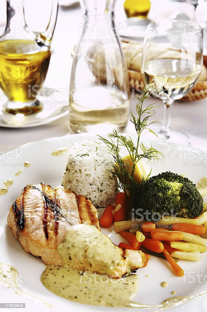 Grilled Salmon with basilic sauce royalty-free stock photo