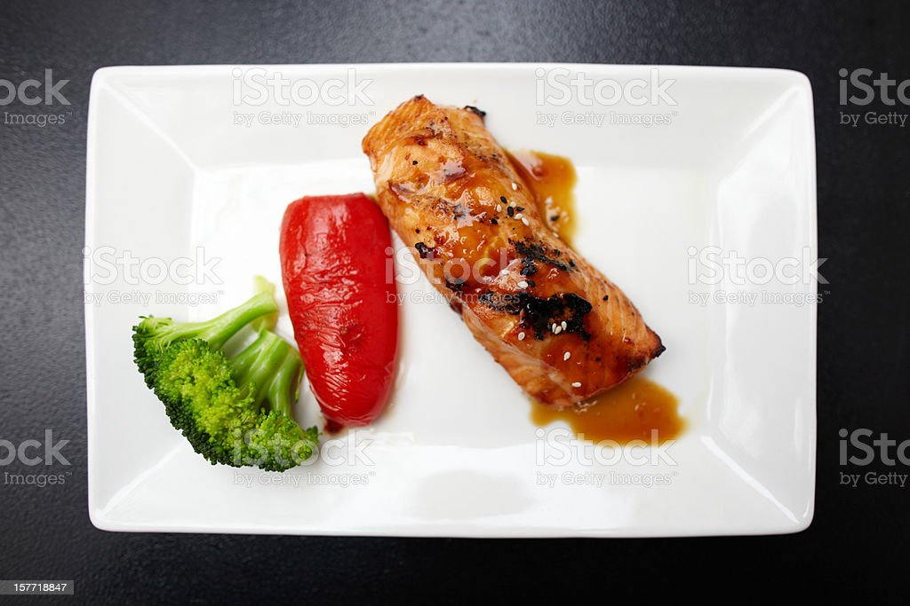 Grilled salmon with broccoli and red pepper royalty-free stock photo
