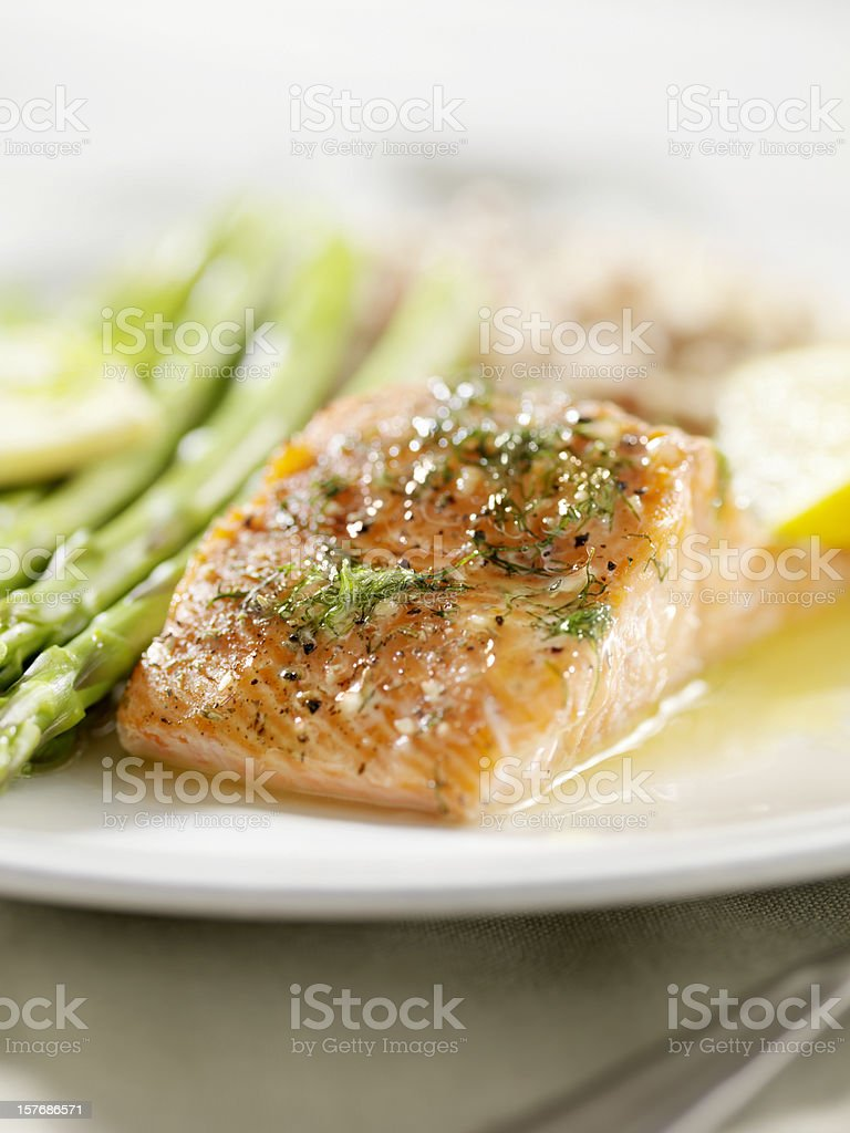 Grilled Salmon with Fresh Dill stock photo