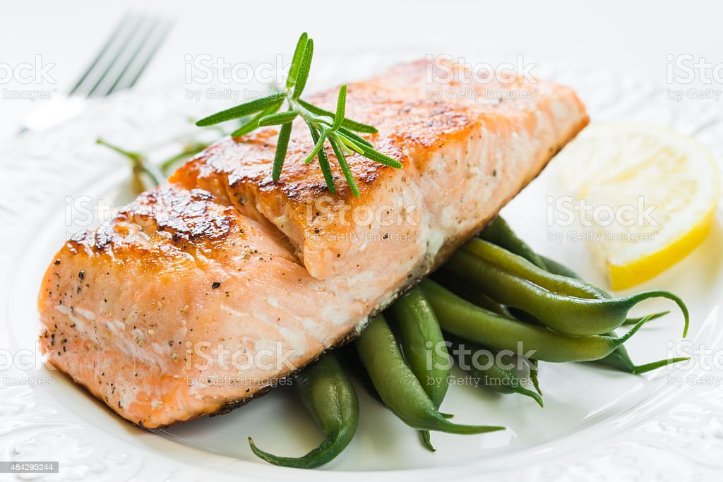 Grilled Salmon with Green Beans stock photo
