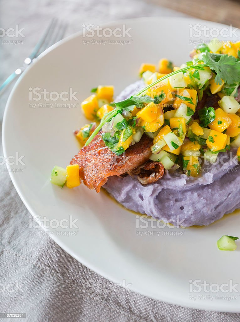 Grilled Salmon with mango salsa stock photo