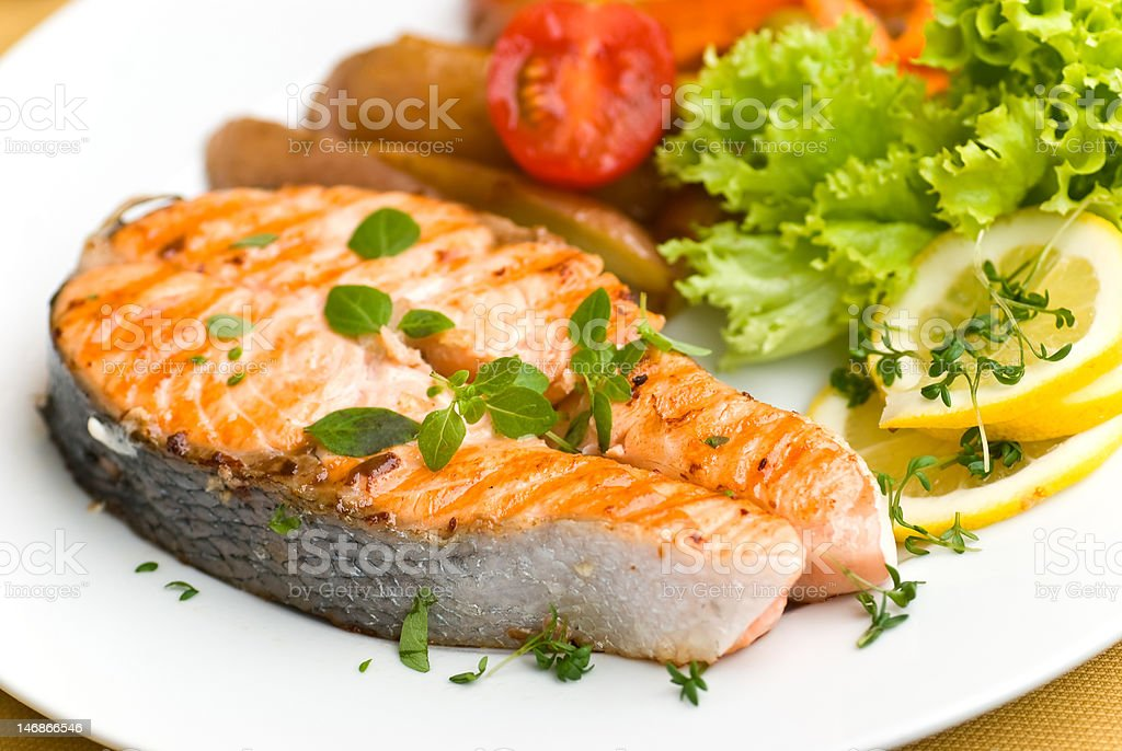 grilled salmon with mixed vegetable stock photo
