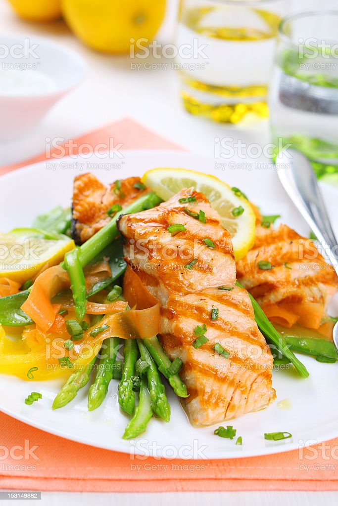 grilled salmon with spring asparagus on white plate, soft focus royalty-free stock photo