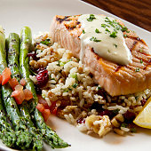 Grilled Salmon with Wild Rice and Asparagus