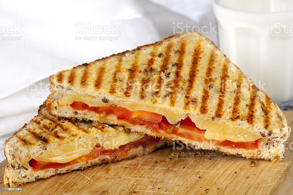 Grilled Sandwich and Milk stock photo