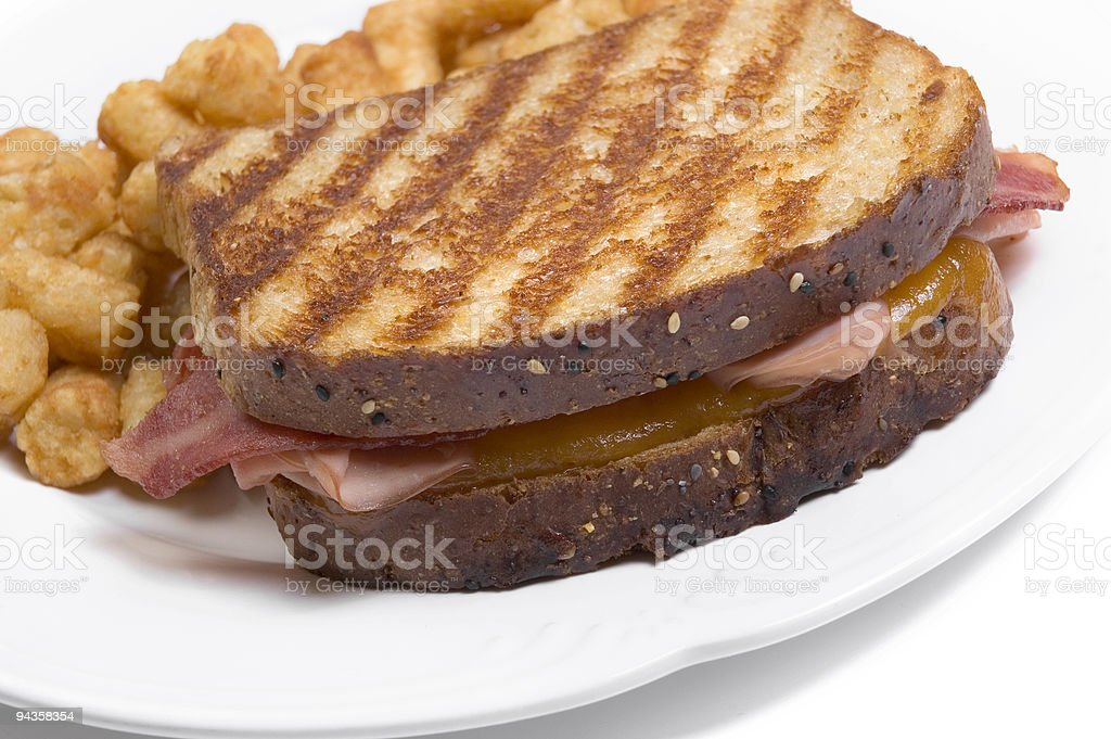 Grilled Sandwich with Tator Tots stock photo