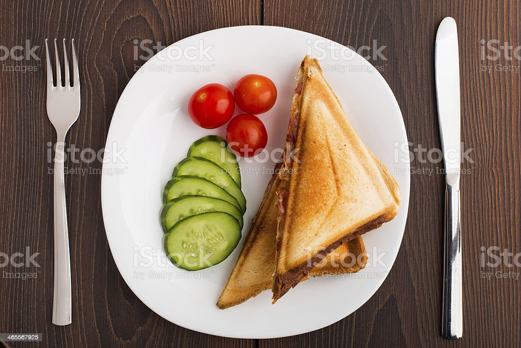 Grilled sandwich with vegetables on plate royalty-free stock photo