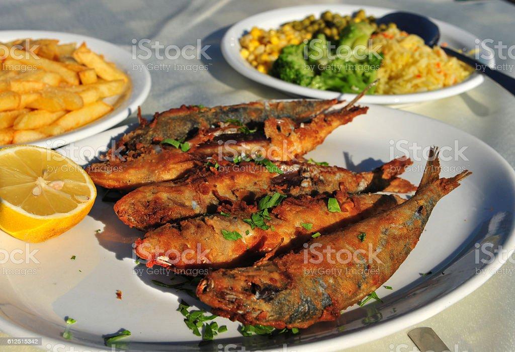 Grilled sardines stock photo