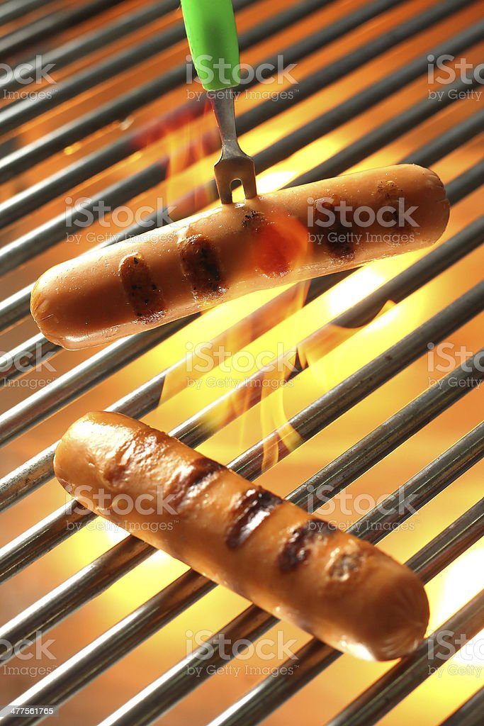 Grilled Sausage, Hot dog royalty-free stock photo