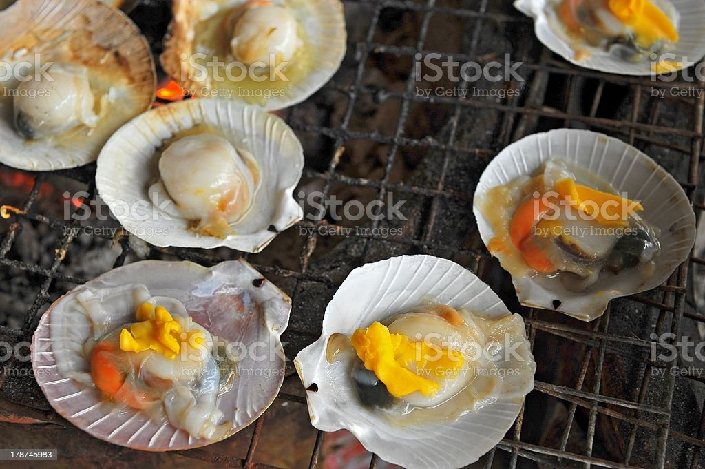 Grilled scallop stock photo