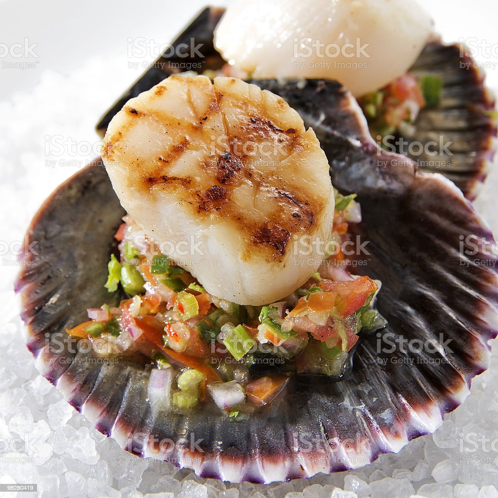 Grilled Scallops with Salsa royalty-free stock photo