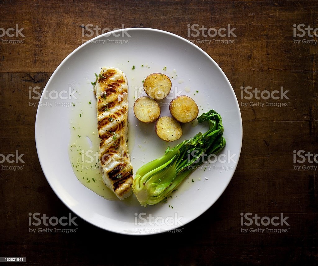 Grilled Sea Bass fillet royalty-free stock photo