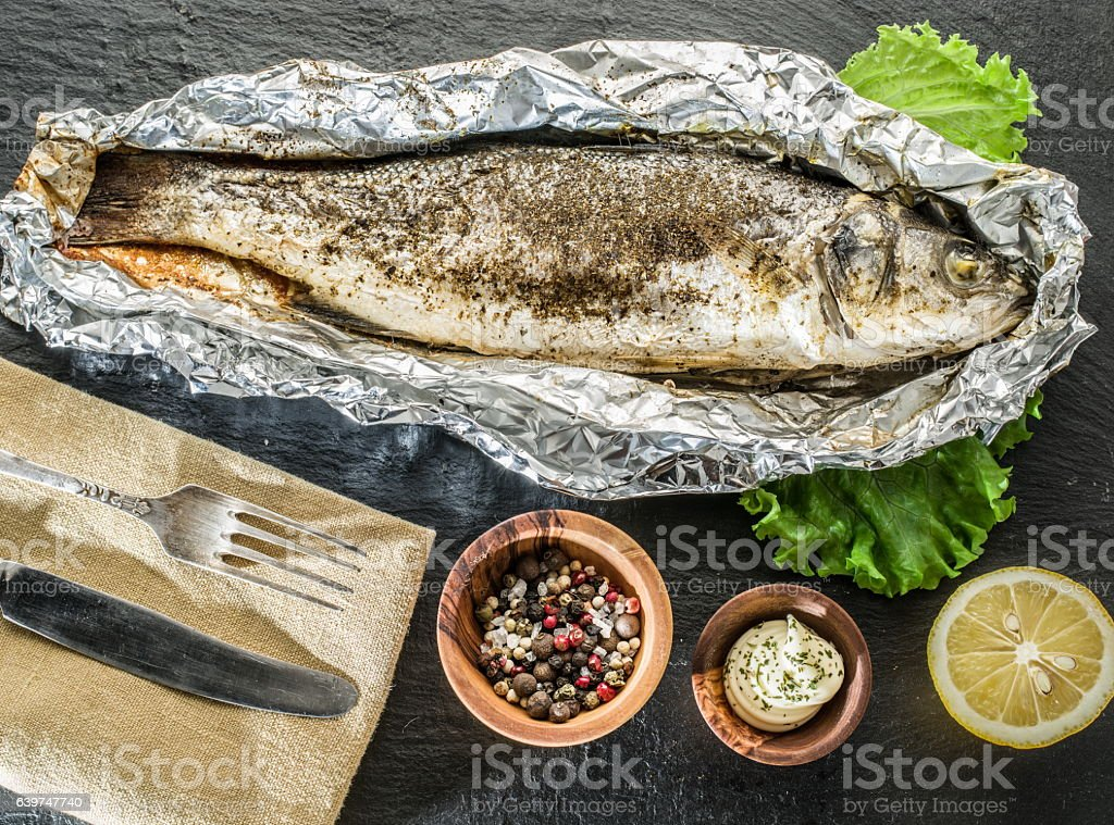 Grilled sea bass fish. stock photo