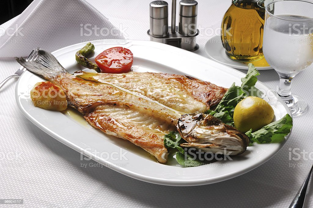 Grilled Sea Bass royalty-free stock photo