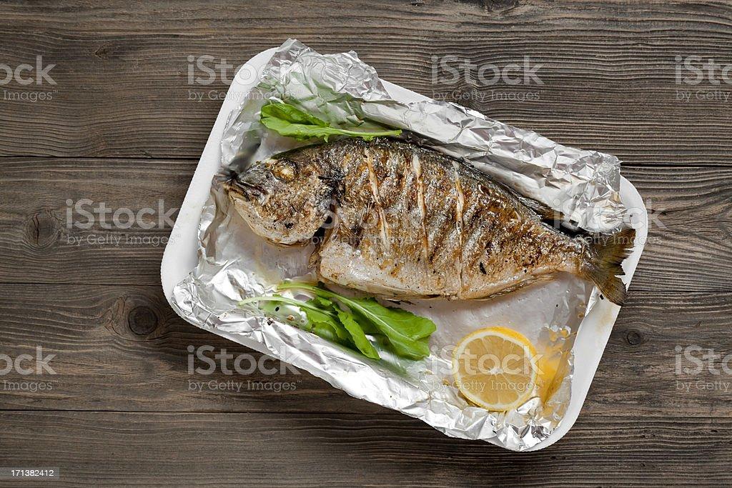 Grilled sea bream stock photo