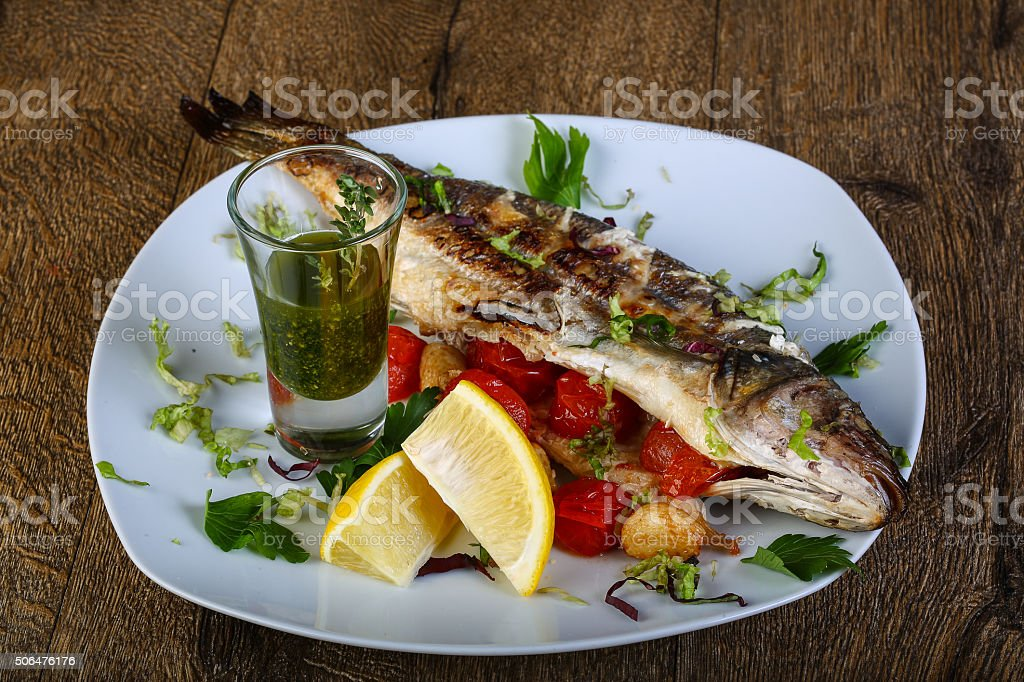 Grilled seabass stock photo