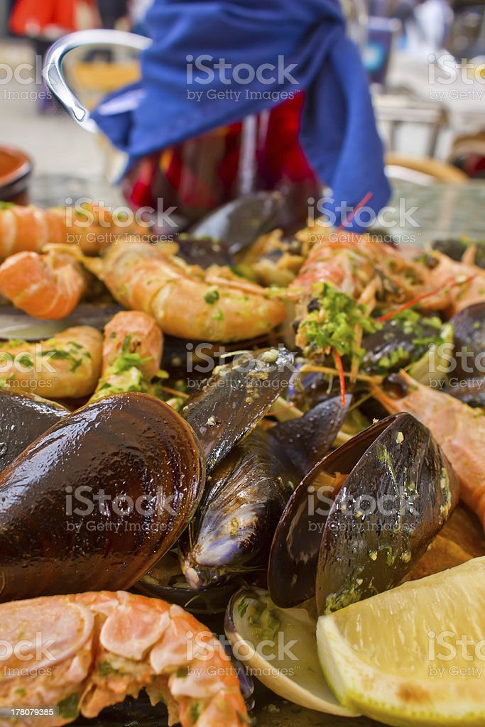 grilled seafood- parrillada de marisco royalty-free stock photo