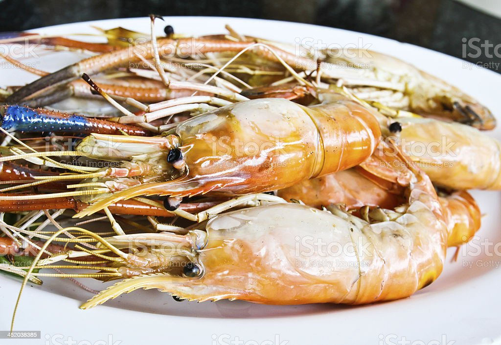 Grilled shrim ready to be serve royalty-free stock photo