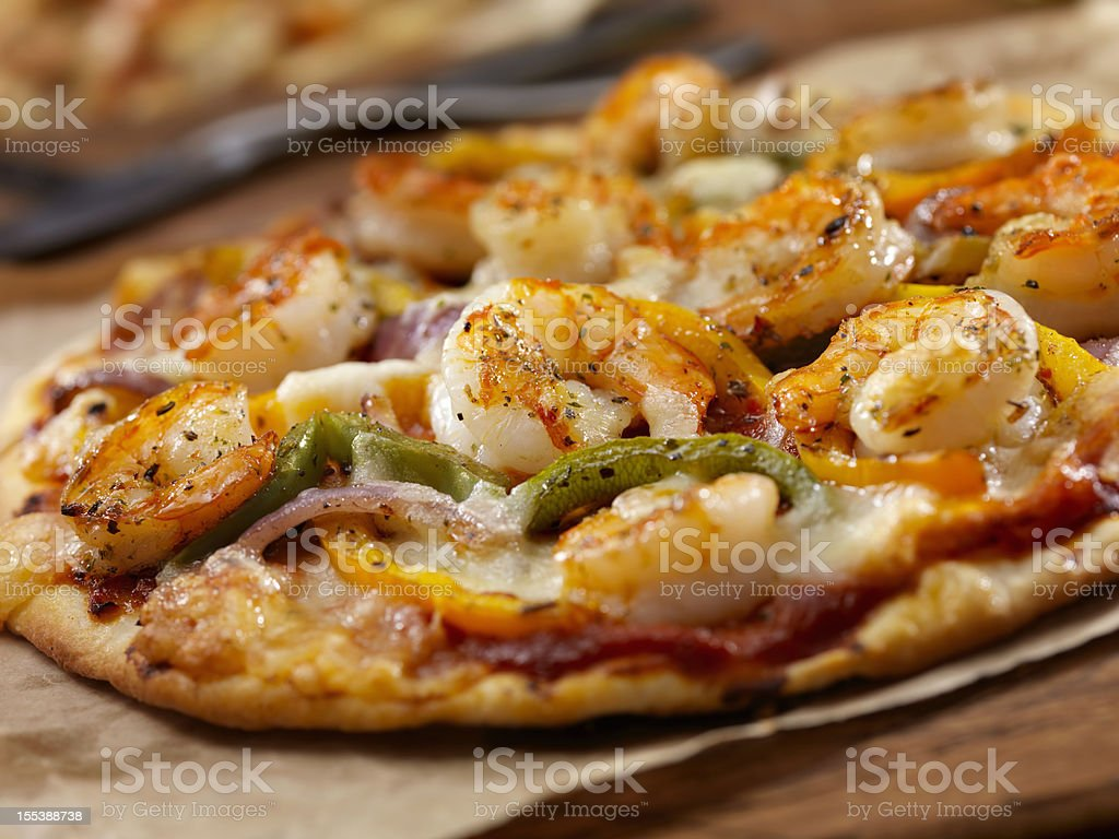 Grilled Shrimp and Roasted Pepper Pizza stock photo