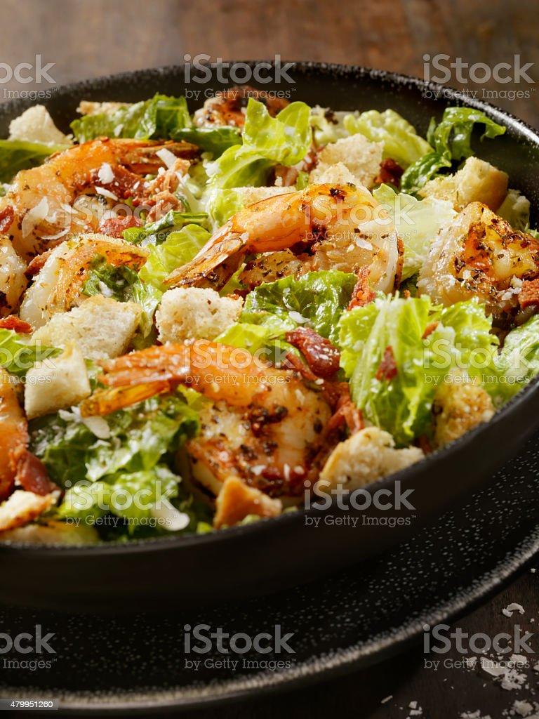Grilled Shrimp Caesar Salad stock photo